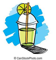 sugrör, drickande, dryck, kopp