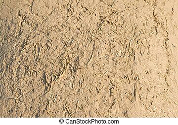 sugrör, lera, struktur, grov, adobe, ram, vägg, fyllda