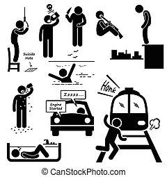 suicida, cometer, suicídio, métodos