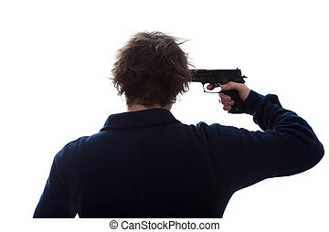 Suicidal attempt - A man having a suicidal attempt with a ...