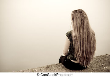 Suicidal woman - Back of suicidal depressed young woman