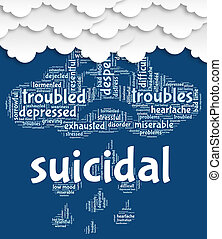 Suicidal Word Shows Attempted Suicide And Fatal - Suicidal...