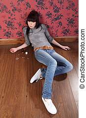Suicide attempt from young girl lying on floor - Teenager ...