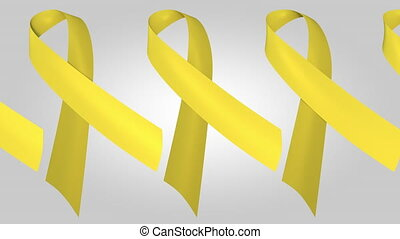 Suicide awareness yellow ribbons. Loopable motion background...