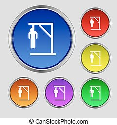 Suicide concept icon sign. Round symbol on bright colourful buttons. Vector