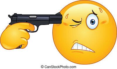Suicide emoticon - Emoticon pointing a gun on his head