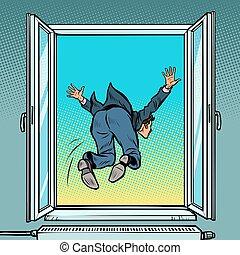 suicide, financier, sauts, fenêtre, crisis., homme affaires, faillite, dehors
