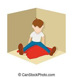 Suicide icon, cartoon style
