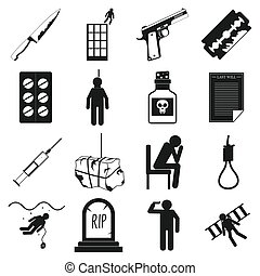 Suicide icons set, simple style