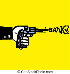 Suicide man with pistol - man with pistol vector...