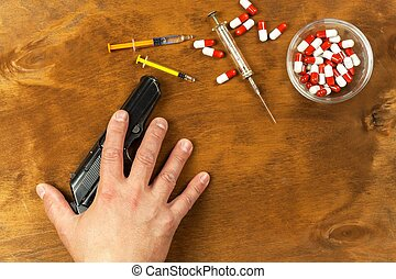 suicide, mental, firearm., arme, illness., ton, drogues, paume, tenue, depression., main, main., pistol.