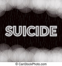 Suicide neon lettering. Sad mood. Vector illustration