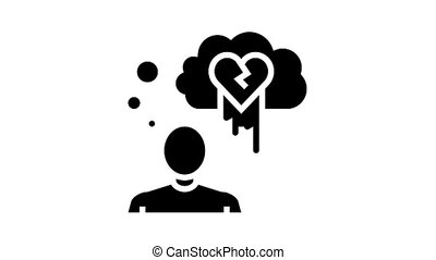suicide psychological problems animated glyph icon. suicide psychological problems sign. isolated on white background