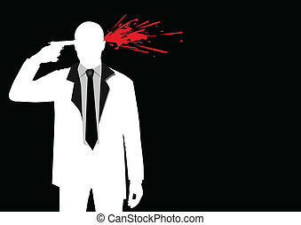 Suicide - Illustration of a man figure shooting his head