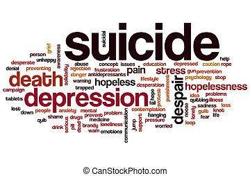 Suicide word cloud - Suicide concept word cloud background