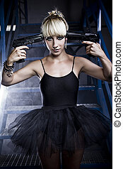 Suicide. Young blonde woman with black dress holding a gun.