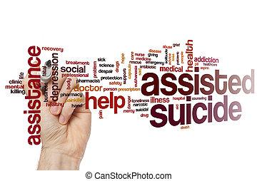 suicidio asistido, palabra, nube
