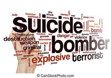 suicidio, bombardero, palabra, nube, concepto
