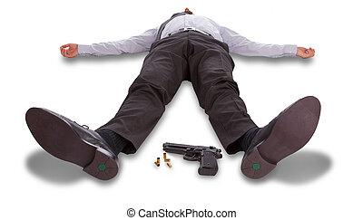 suicidio, concepto, -, hombre señalar con el dedo, tiro, sí mismo