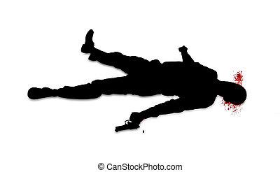 suicidio, concepto, -, hombre, tiro, sí mismo