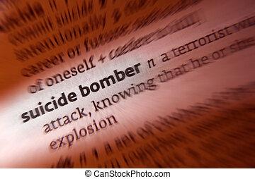 suicidio, definición, bombardero, -, diccionario