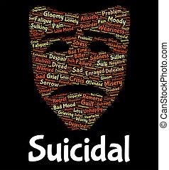 suicidio, palabra, mortal, potencial, suicida, exposiciones