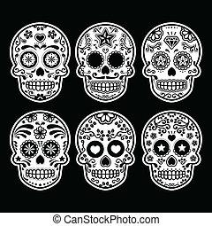 suiker, mexicaanse , schedel, iconen
