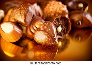 suikergoed, geassorteerd, valentijn, chocolates., chocolade