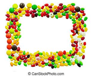 suikergoed, jarig, frame, gemaakt, kleurrijke