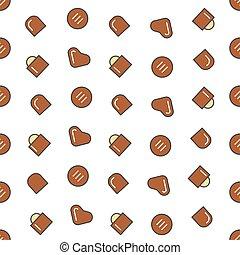 suikergoed, model, seamless, chocolade, vector, achtergrond