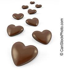 suikergoed, weinig, gevormd, hart, chocolade