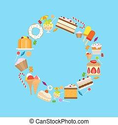 suikergoed, zoetigheden, frame, ronde