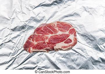 suina, carne, alumínio, carne, vitro, cultivado, folha, lab-grown