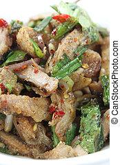suina, salad), alimento, nam, tok, moo, tailandês, (grilled
