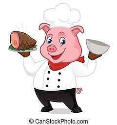 suina, servindo, porca, cozinheiro, bandeja, caricatura, mascote