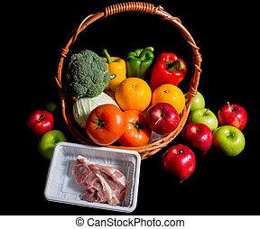 suina, vime, legumes, isolado, pretas, frutas, cesta, Composição