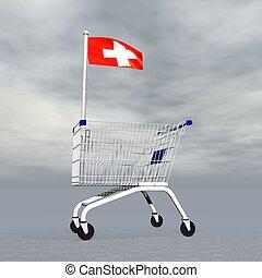 suisse, achats, -, render, 3d