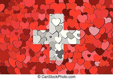 suisse, cœurs, drapeau, fait, fond