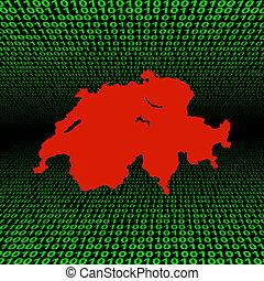 suisse, carte, code, binaire