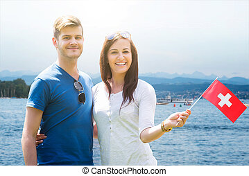 suisse, couple, drapeau, tenue