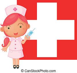 suisse, devant, drapeau, injection, infirmière