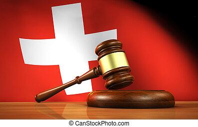suisse, droit & loi, et, justice, concept