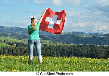 suisse, flag., girl, suisse, emmental
