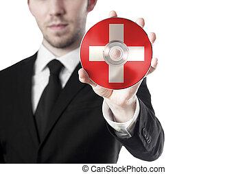 suisse, homme, croix, tenue, cd
