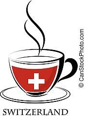 suisse, logo, café, fait, drapeau