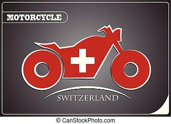 suisse, logo, drapeau, fait, motocyclette