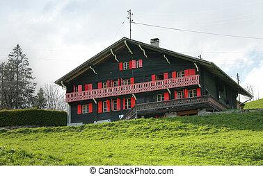 suisse, maison, typique