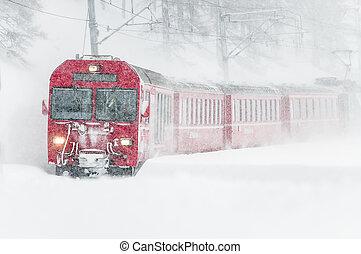 suisse, montagne, train, neige