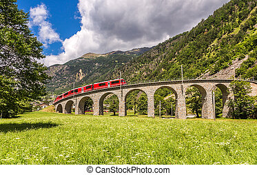 suisse, montagne, train