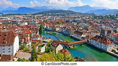 suisse, panorama, aérien, luzerne